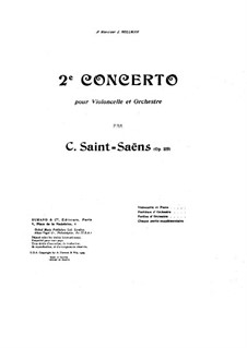 Concerto for Cello and Orchestra No.2 in D Minor, Op.119: Partitura completa by Camille Saint-Saëns