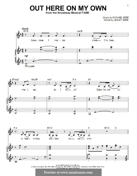 Out Here on My Own (from Fame): Para vocais e piano by Michael Gore