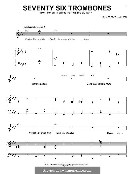 Seventy Six Trombones: Para vocais e piano by Meredith Willson