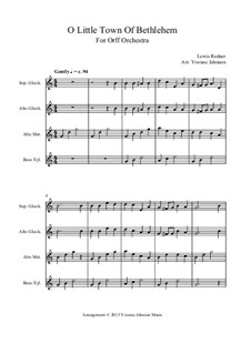 O Little Town of Bethlehem: For orff orchestra by Lewis Henry Redner