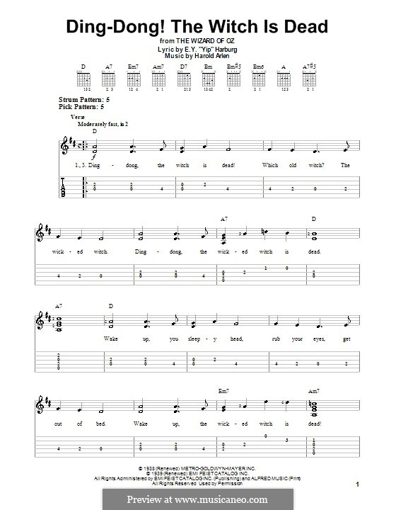 Ding-dong! The Witch Is Dead (from The Wizard of Oz): Para guitarra com guia by Harold Arlen