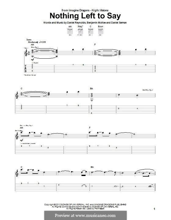 Nothing Left To Say (Imagine Dragons): Para guitarra com guia by Benjamin McKee, Daniel Reynolds, Daniel Sermon