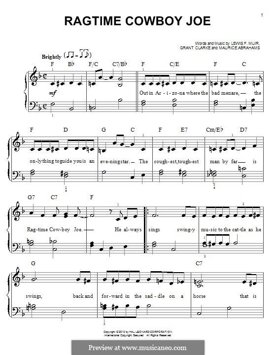 Ragtime Cowboy Joe (Belle Baker): Para Piano by Maurice Abrahams, Grant Clarke, Lewis F. Muir