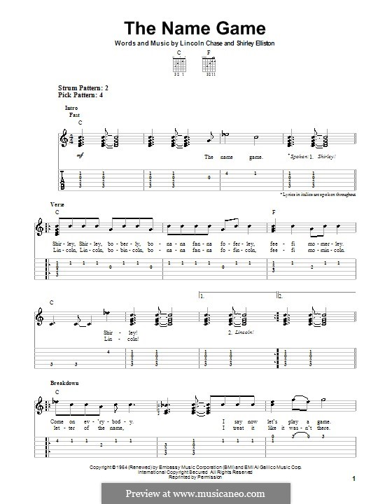 The Name Game (Shirley Ellis): Para guitarra com guia by Lincoln Chase, Shirley Elliston