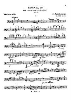 Sonata for Cello and Piano No.1 in C Minor, Op.32: Parte de solo by Camille Saint-Saëns