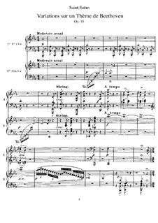 Variations on Theme by Beethoven, Op.35: Partitura piano by Camille Saint-Saëns