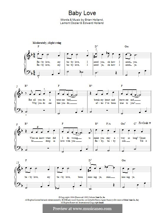 Baby Love (The Supremes): Para Piano by Brian Holland, Edward Holland Jr., Lamont Dozier