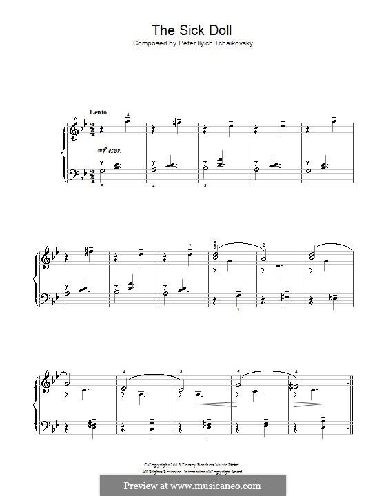 No.6 The Sick Doll: Para Piano by Pyotr Tchaikovsky