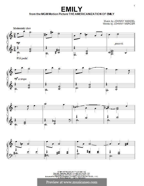 Emily (from The Americanization of Emily): Para Piano by Johnny Mandel