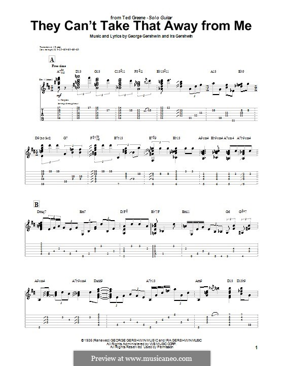 They Can't Take That Away from Me: For guitar with tab (Ted Greene) by George Gershwin