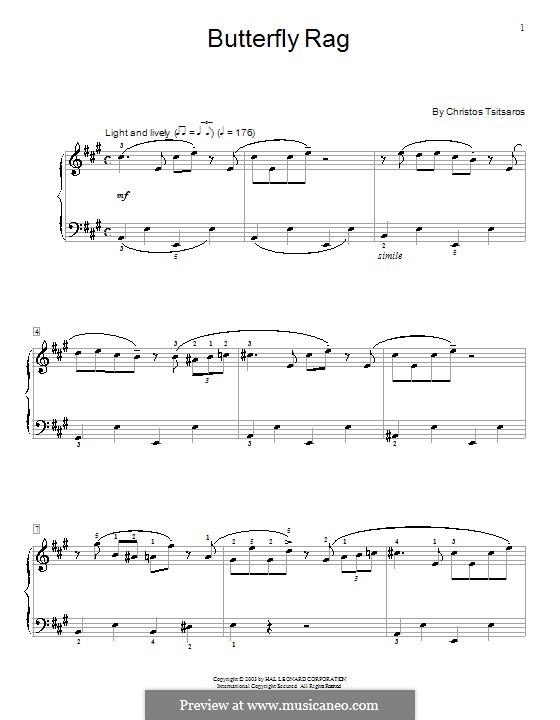 Butterfly Rag: Para Piano by Christos Tsitsaros