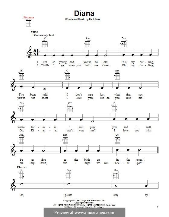 Diana: para ukulele by Paul Anka