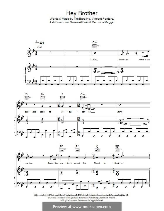 Hey Brother: Para vocais e piano (ou Guitarra) by Avicii, Arash Andreas Pournouri, Vincent Pontare, Salem Al Fakir, Veronica Maggio