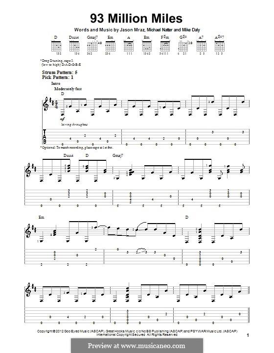 93 Million Miles: Para guitarra com guia by Jason Mraz, Michael Natter, Mike Daly