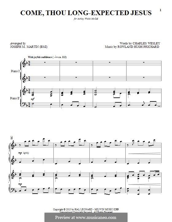 Come, Thou Long-Expected Jesus: Para Piano by Rowland Huw Prichard