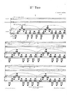 Piano Trio No.2 in E Minor, Op.92: Partitura completa by Camille Saint-Saëns