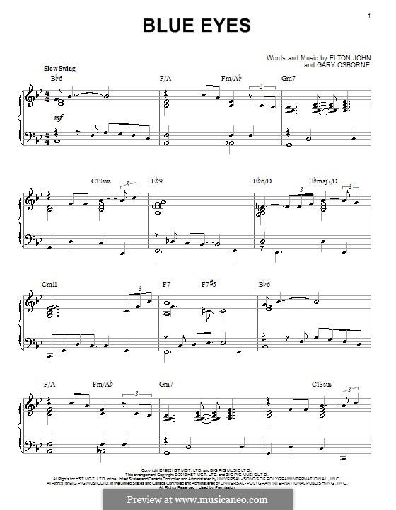 Blue Eyes: Para Piano by Elton John, Gary Osborne