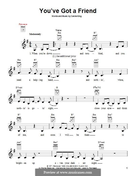 You've Got a Friend: para ukulele by Carole King