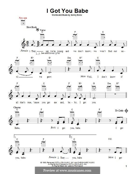 I Got You Babe (Sonny & Cher): para ukulele by Sonny Bono