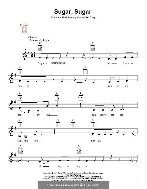 Sugar, Sugar (The Archies): para ukulele by Andy Kim, Jeff Barry