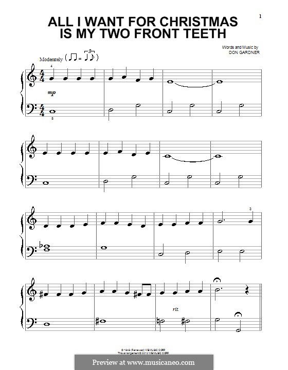 All I Want for Christmas Is My Two Front Teeth: Para Piano by Don Gardner