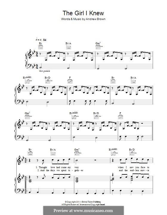 The Girl I Knew (Lawson): Para vocais e piano (ou Guitarra) by Andrew Brown