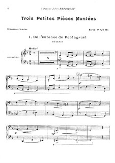 Trois petites pièces montées: para piano de quadro mãos by Erik Satie