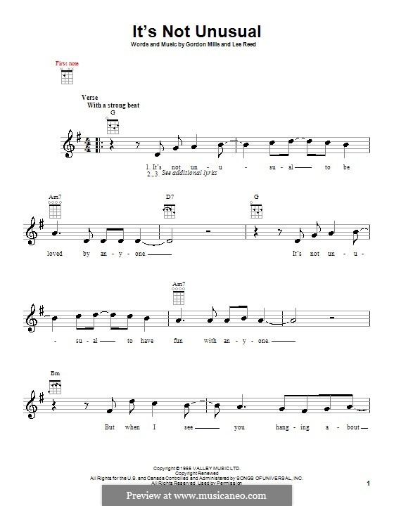 It's not Unusual (Tom Jones): para ukulele by Gordon Mills, Les Reed