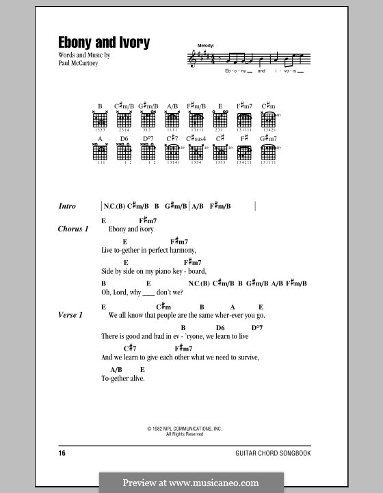 Ebony and Ivory: Letras e Acordes by Paul McCartney