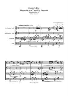 Rhapsody on a Theme of Paganini, Op.43: Variation XVIII, for brass quartet by Sergei Rachmaninoff