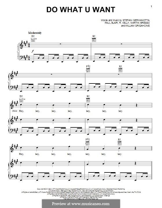 Do What U Want (Lady Gaga): Para vocais e piano (ou Guitarra) by Paul Blair, Robert Kelly, Stefani Germanotta, William Grigahcine, Martin Bresso
