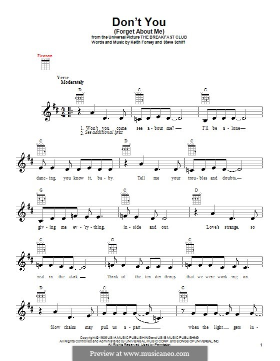 Don't You (Forget About Me): para ukulele by Keith Forsey, Steve Schiff