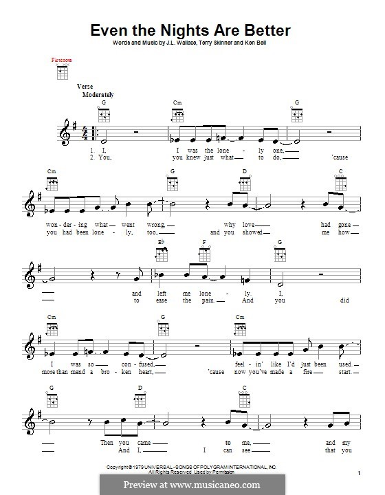 Even the Nights Are Better (Air Supply): para ukulele by J. L. Wallace, Ken Bell, Terry Skinner