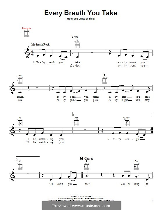 Every Breath You Take (The Police): para ukulele by Sting