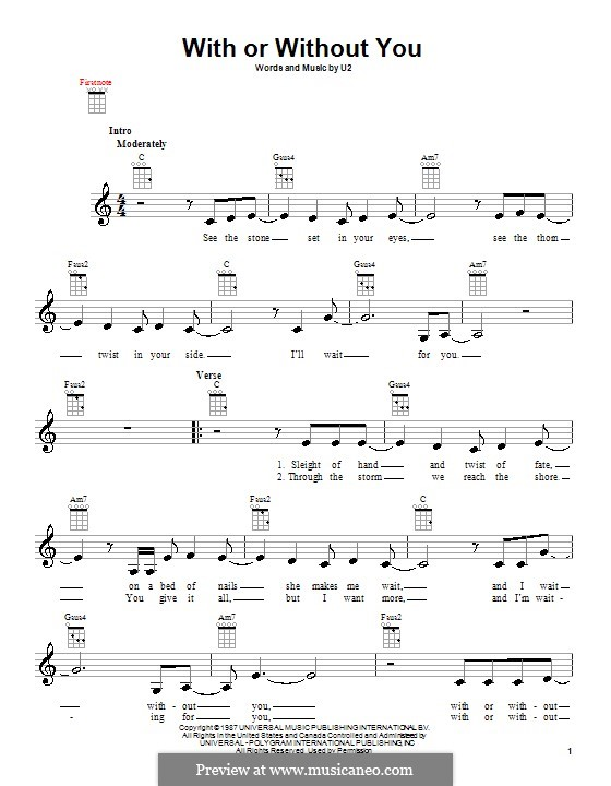 With or without You: para ukulele by U2