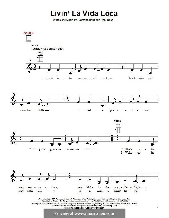 Livin' la vida loca (Ricky Martin): para ukulele by Desmond Child, Robi Rosa