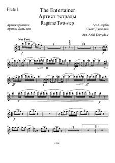 The Entertainer: For chamber orchestra – parts by Scott Joplin