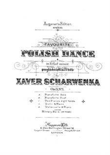 Polish National Dances, Op.3: Dance No.1, for Cello and Piano by Xaver Scharwenka