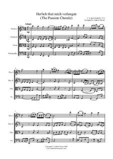 Chorale Preludes, Miscellaneous: Herzlich thut mich verlangen. Arrangement for String Quartet, BWV 727 by Johann Sebastian Bach