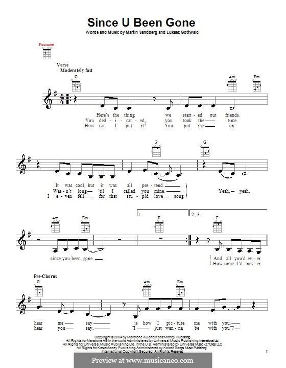 Since U Been Gone (Kelly Clarkson): para ukulele by Lukas Gottwald, Max Martin