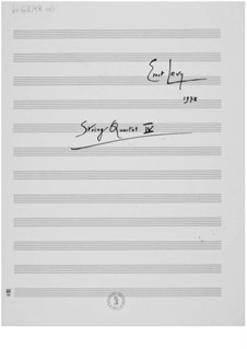 String Quartet No.4: Partitura completa by Ernst Levy