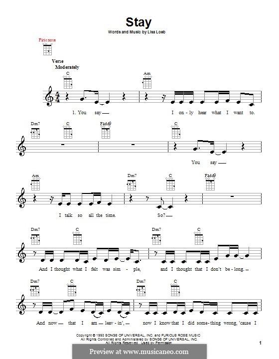 Stay: para ukulele by Lisa Loeb