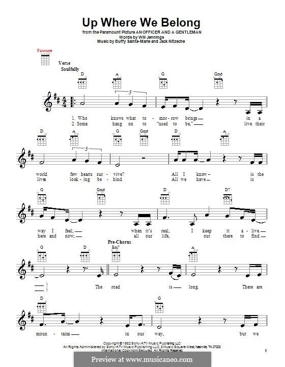 Up Where We Belong (Joe Cocker and Jennifer Warnes): para ukulele by Buffy Sainte-Marie, Jack Nitzsche, Will Jennings