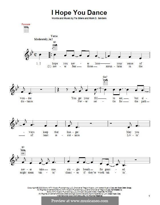 I Hope You Dance (Lee Ann Womack): para ukulele by Mark D. Sanders, Tia Sillers