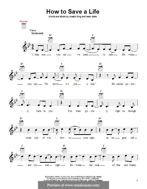 How to Save a Life (The Fray): para ukulele by Isaac Slade, Joseph King