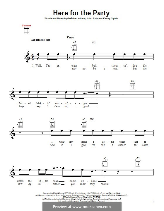 Here for the Party (Gretchen Wilson): para ukulele by John Rich, Kenny Alphin