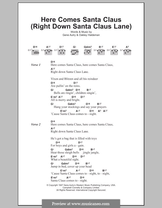Here Comes Santa Claus (Right Down Santa Claus Lane): Letras e Acordes by Gene Autry, Oakley Haldeman