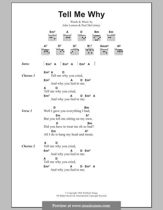 Tell Me Why (The Beatles): Letras e Acordes by John Lennon, Paul McCartney