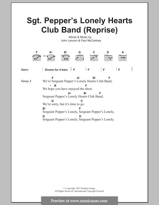 Sgt. Pepper's Lonely Hearts Club Band (The Beatles): Lyrics and chords (Reprise) by John Lennon, Paul McCartney