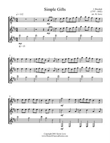 Simple Gifts: For trio guitars - score and parts by Joseph Brackett
